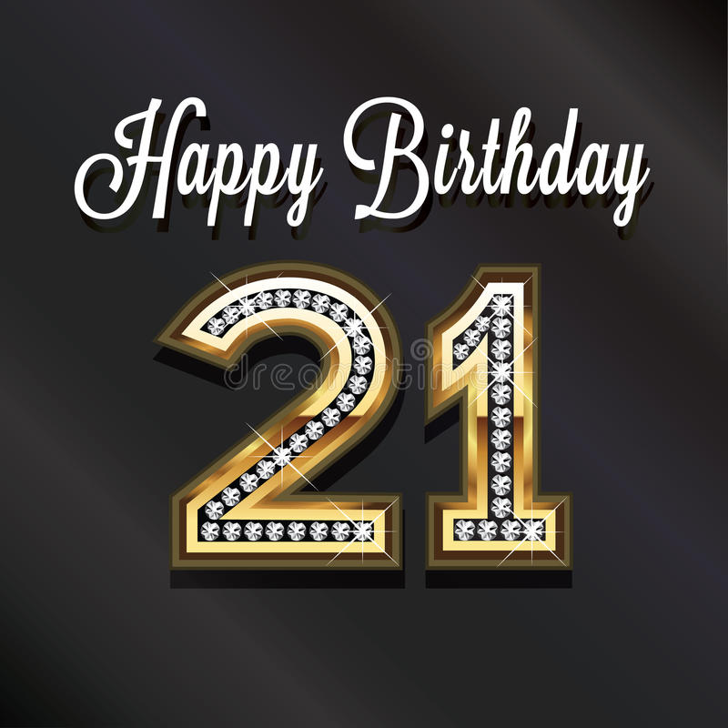 21ste Gelukkige verjaardagsverjaardag Vip kaart vector illustratie
