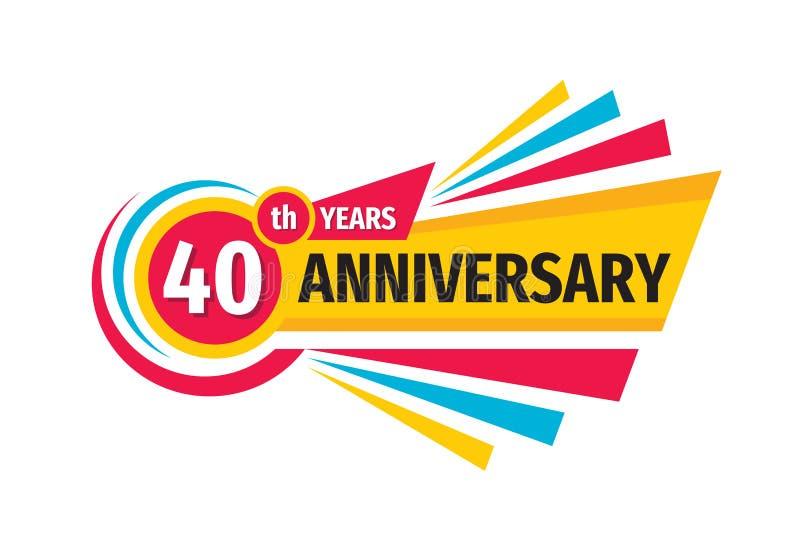 40ste het embleemontwerp van de verjaardagsbanner Veertig jaar van het verjaardagskenteken het embleem Abstracte geometrische aff vector illustratie