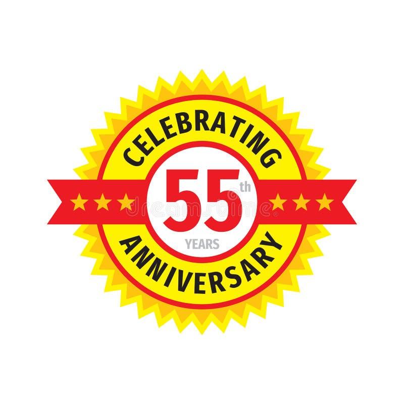 55ste het embleemontwerp van het verjaardagskenteken Het embleem van de vijfenvijftig verjaardagsbanner Abstracte geometrische af vector illustratie