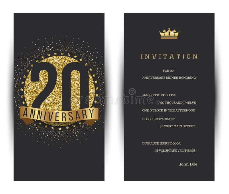 20ste het verjaardag verfraaide malplaatje van de groetkaart royalty-vrije illustratie