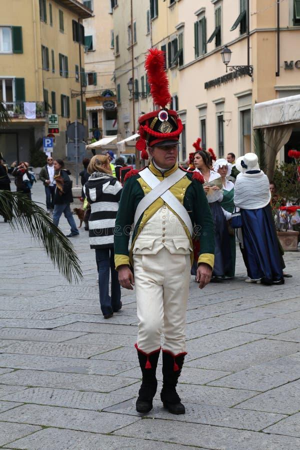 200ste verjaardag van de aankomst van Napoleon ` s in Portoferraio, Elba stock foto