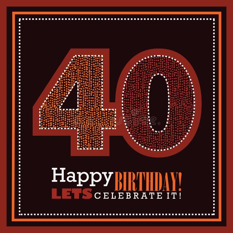 40ste verjaardagskaart, vectorillustrtaion royalty-vrije stock fotografie