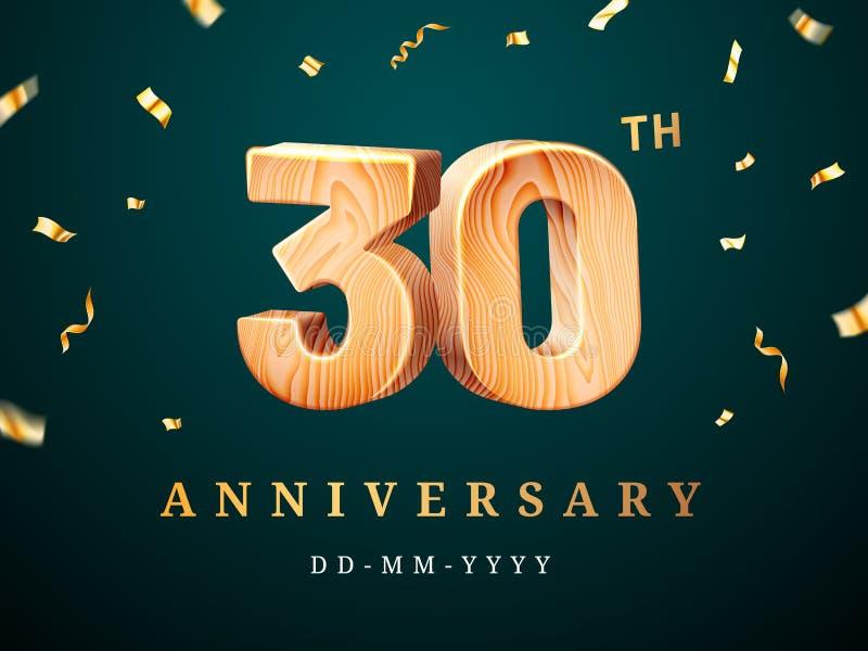 30ste verjaardagsteken met dalende confettien vector illustratie