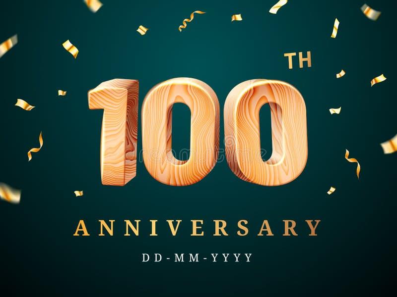 100ste verjaardagsteken met dalende confettien royalty-vrije illustratie