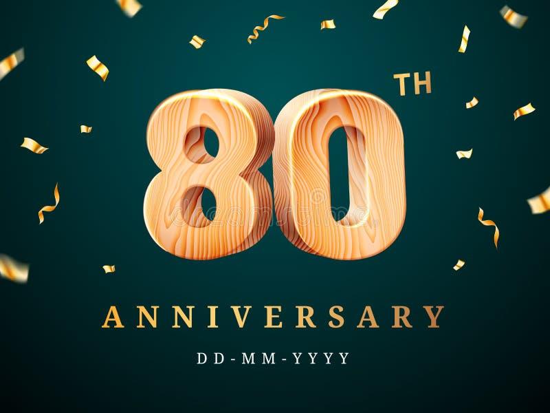 80ste verjaardagsteken met dalende confettien stock illustratie