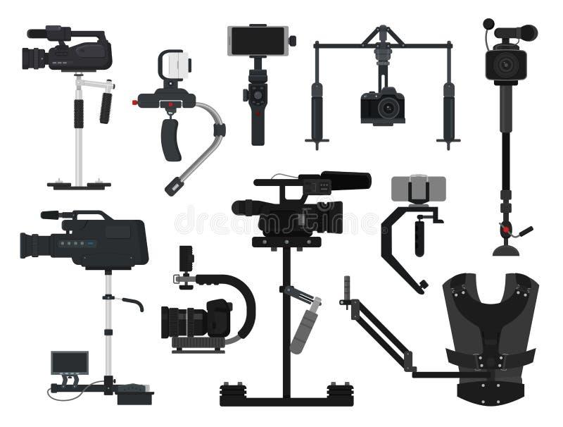Steadicam διανυσματικό τηλεοπτικό σύνολο απεικόνισης σταθεροποιητών εξοπλισμού ταινιών ψηφιακών κάμερα επαγγελματικό φωτογράφου απεικόνιση αποθεμάτων