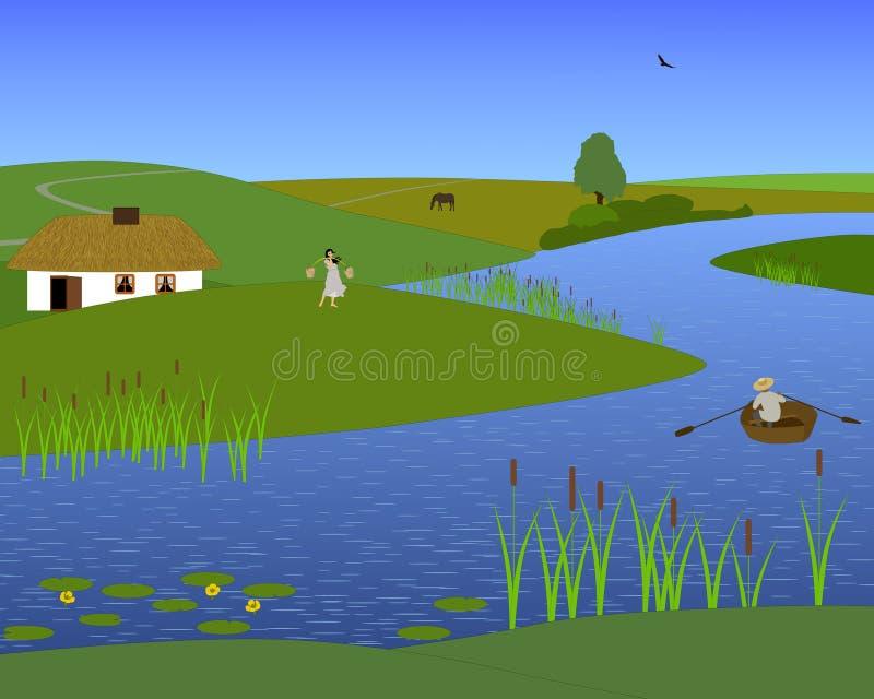 Steading dans la steppe illustration de vecteur