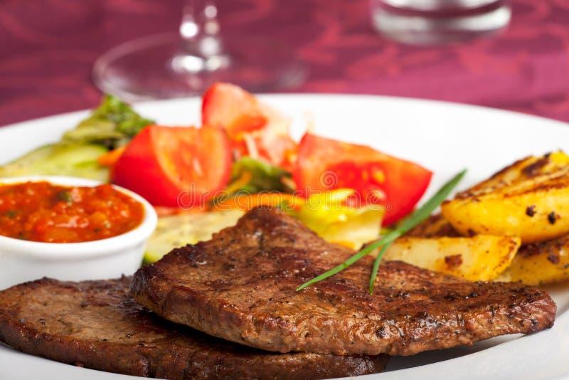 Download Steak stock photo. Image of cloth, salad, potato, beef - 14993178