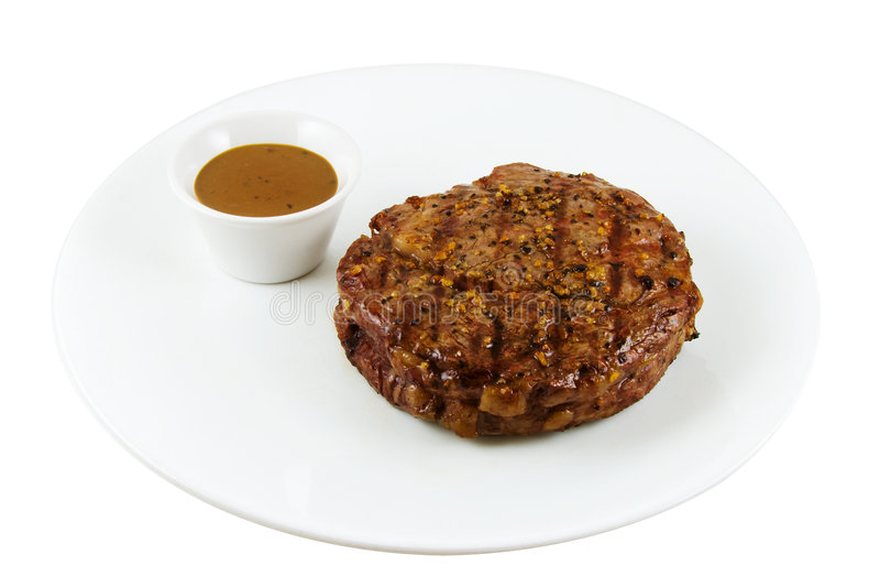 Rob Eye Steak and Gravy, Isolated