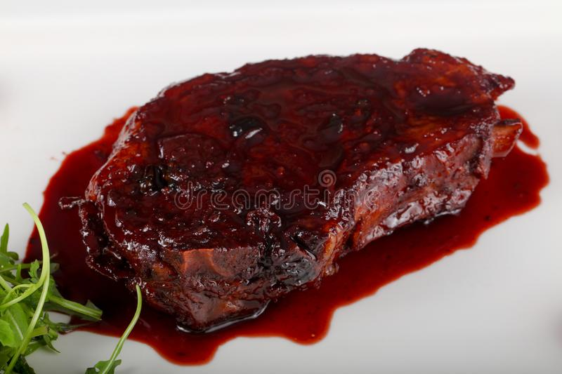 Steak with berry sauce. Beef Steak with berry sauce stock photo