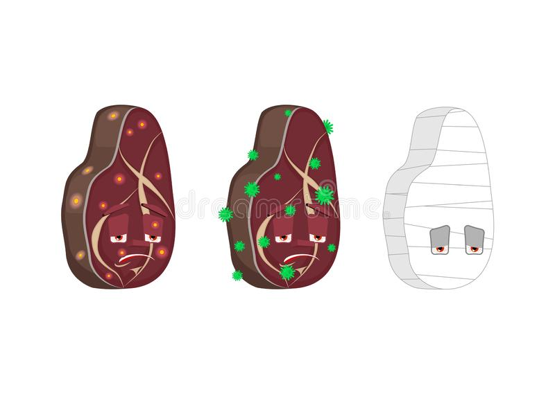 Steak Cartoon Style set. Meat Sick and sad. Bandaged. beefsteak Collection of situations.  royalty free illustration