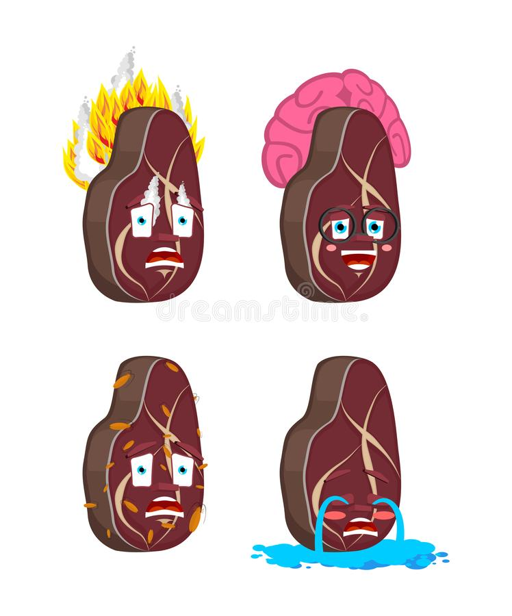 Steak Cartoon Style set. Meat Smart and infected. Fire and flooded. beefsteak Collection of situations.  royalty free illustration
