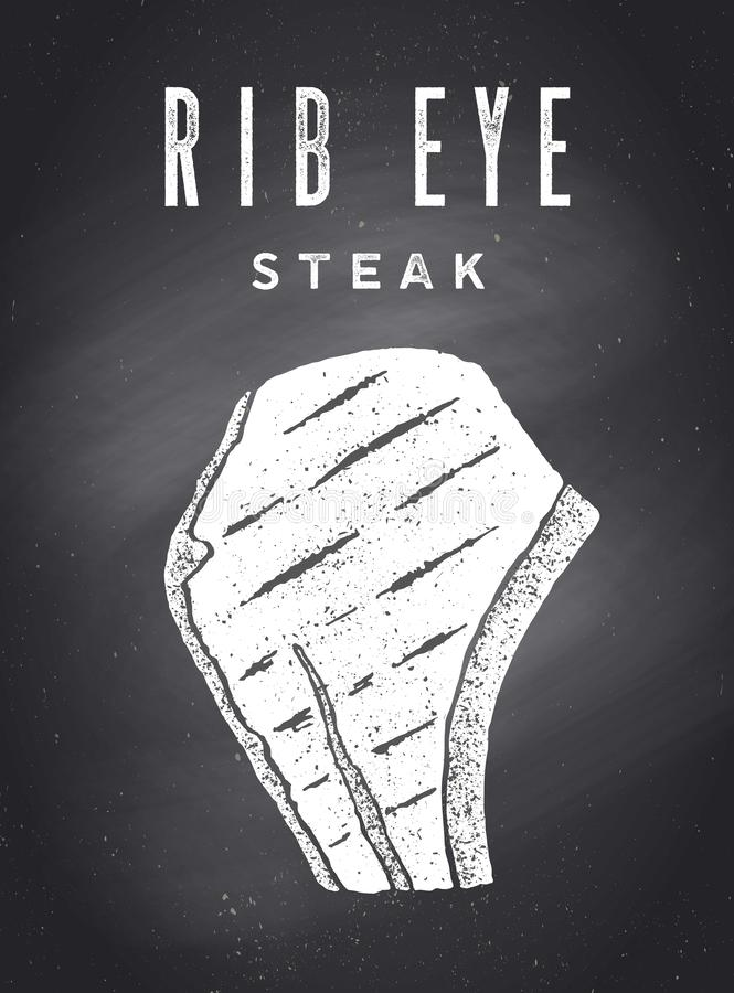 Steak, Chalkboard. Kitchen poster with steak silhouette royalty free stock images