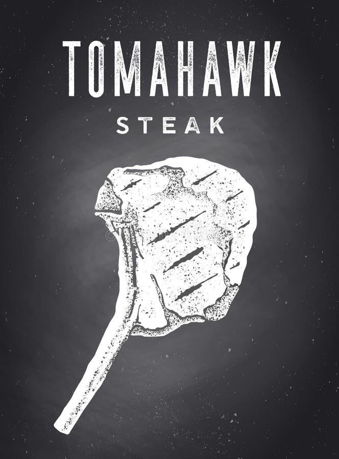Steak, Chalkboard. Kitchen poster with steak silhouette royalty free stock image