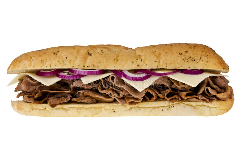 Steak cheese sandwich. Steak cheese sub sandwich isolated on white background stock photos