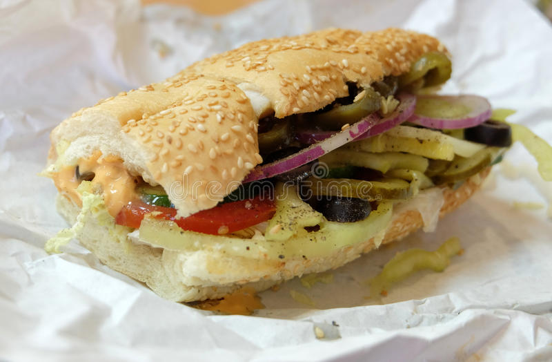 Steak and Cheese Sub. Angle view of a sandwich. Steak and Cheese Sub stock images