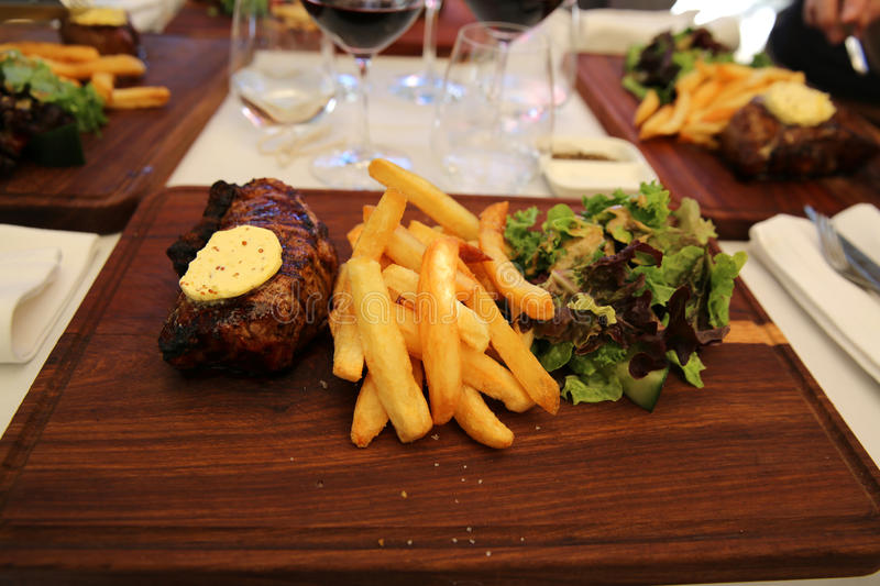 Steak with Chips royalty free stock photography