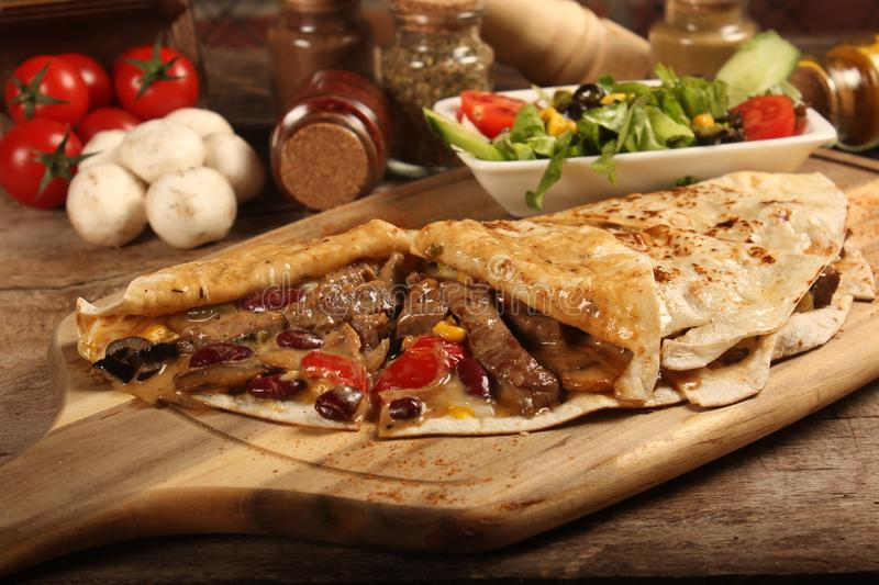 Steak with Crepe Food. Food photography, food photo, dinner, lunch, restaurant royalty free stock images