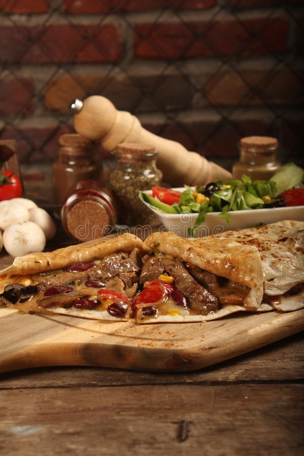 Steak with Crepe Food. Food Photography, Food photo, lunch, dinner, lunch, turkish kitchen royalty free stock images