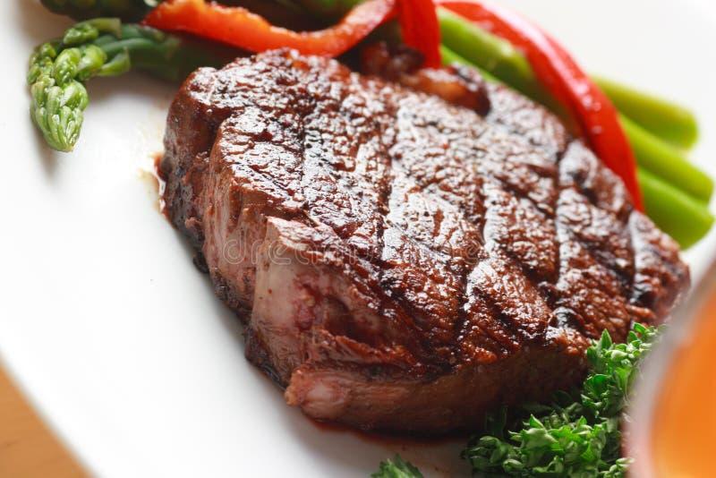 Steak dinner closeup stock images