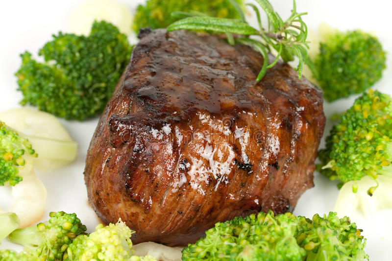 Steak dinner , Fillet Mignon- juicy grilled,isolat stock image