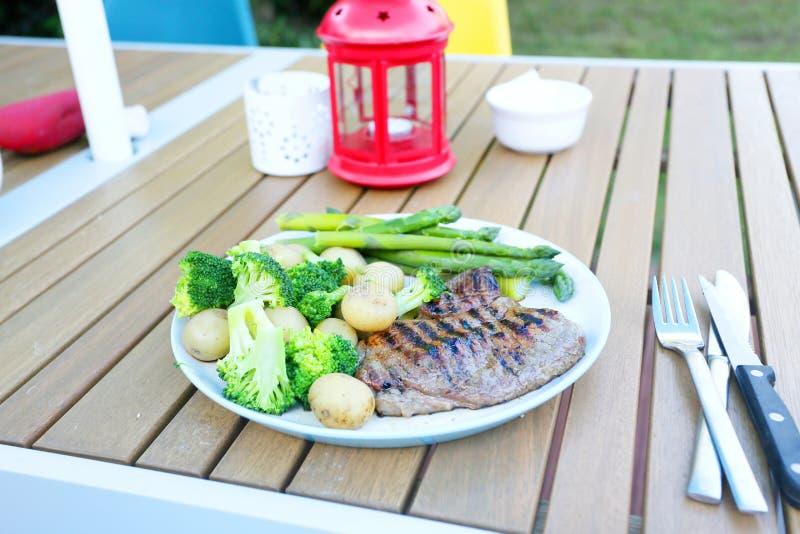 Steak dinner outside stock photos