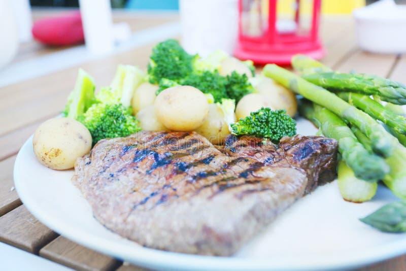 Steak dinner outside royalty free stock photo