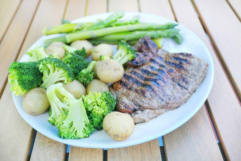 Steak dinner outside royalty free stock images