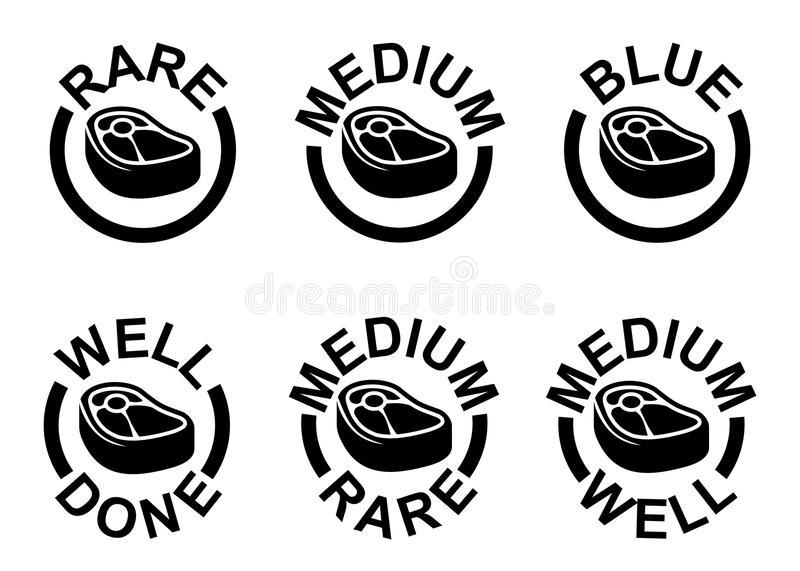 Steak doneness chart: differently cooked pieces of beef. Steak - medium, rare, well done, grilled icons set vector illustration