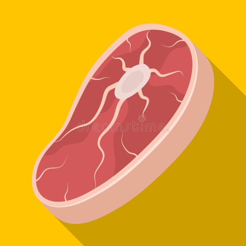 Steak für einen Grill Einzelne Ikone BBQ im flachen Artvektorsymbolvorrat-Illustrationsnetz lizenzfreie abbildung