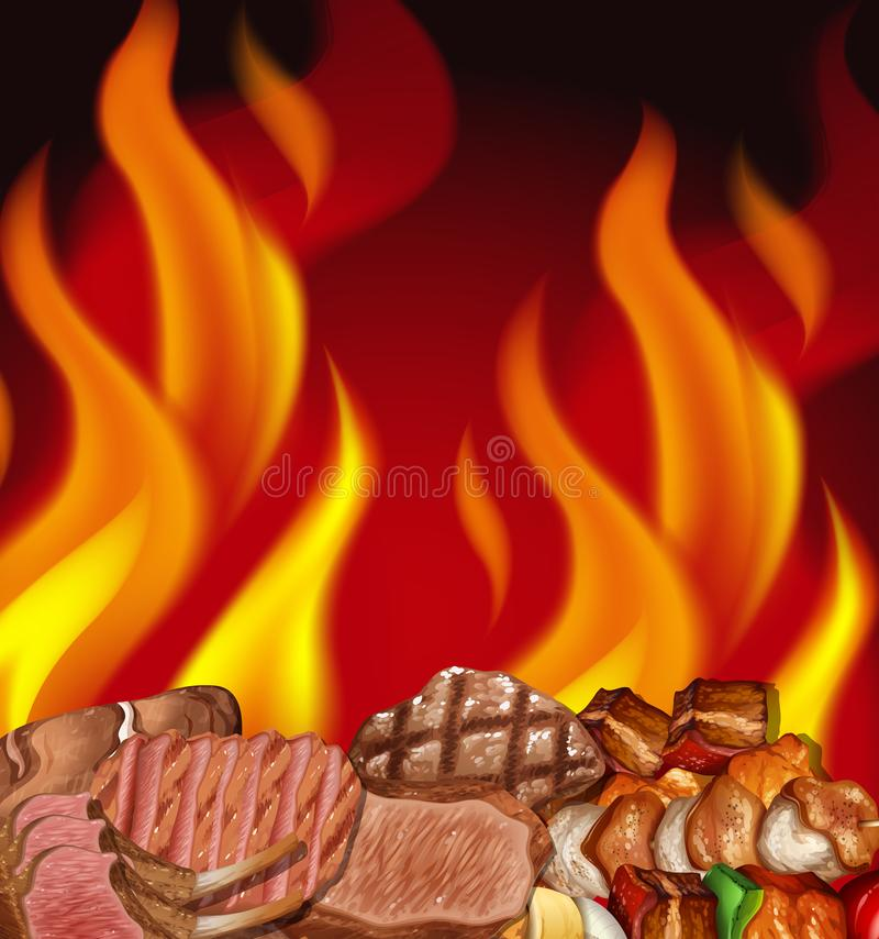 A Steak and Fire Border. Illustration stock illustration