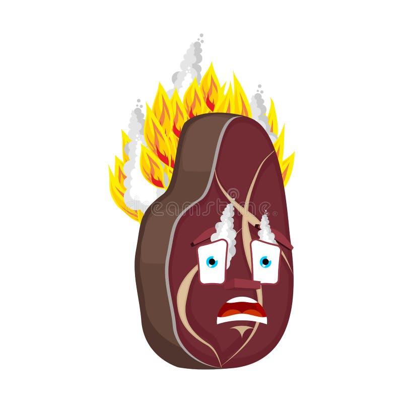 Steak Fire isolated. burning meat Cartoon Style. beefsteak Vector.  royalty free illustration