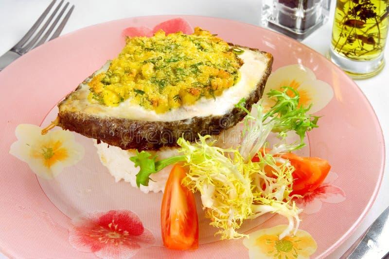 Download Steak Of Fish With Rice Garnish Stock Image - Image: 23156183