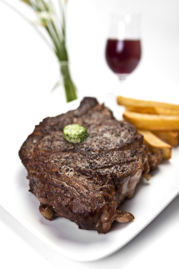 Steak and Fries royalty free stock photography