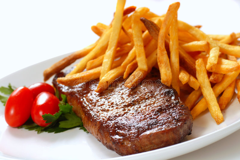 Download Steak and Fries stock image. Image of juicy, plate, nutrition - 7655441