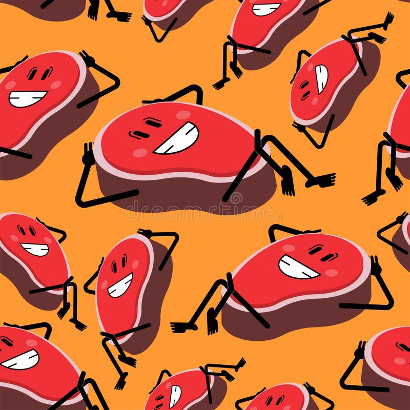 Steak happy pattern seamless. cartoon piece of meat background. Vector texture vector illustration