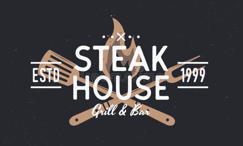 Steak House, Barbecue, Grill логотип Плакат ресторана Vintage дизайн логотипа trendy retro Гриль-вилка, Спатула и пожарный огонь  бесплатная иллюстрация