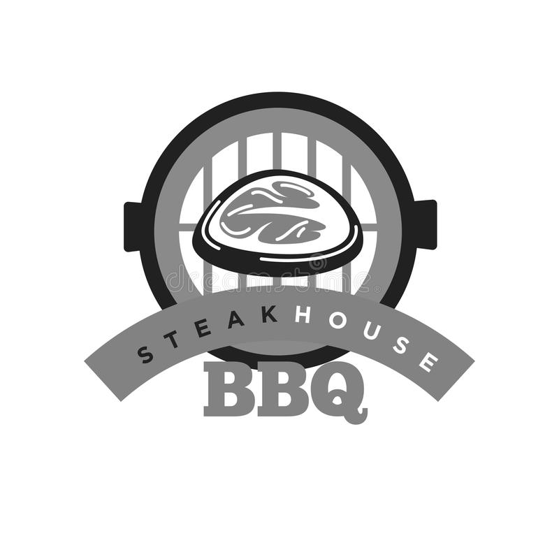 Steak house bbq monochrome emblem for meat restaurant. Public place for delicious nutritious food logo. Tasty piece of veal or pork black and white sticker stock illustration