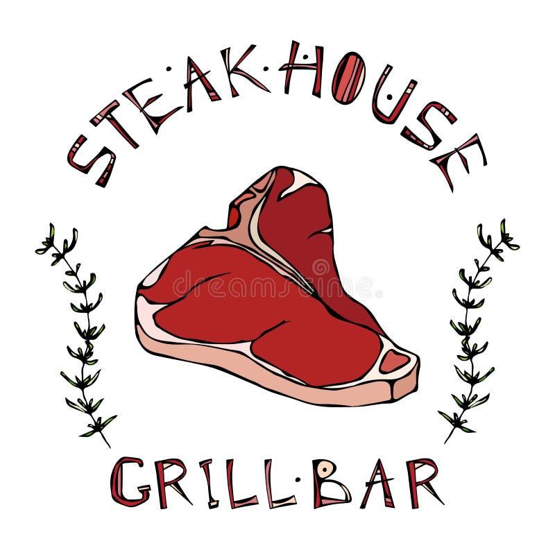 steak house or grill bar logo t bone steak beef cut with lettering rh dreamstime com butcher ligonier pa butcher colonial times