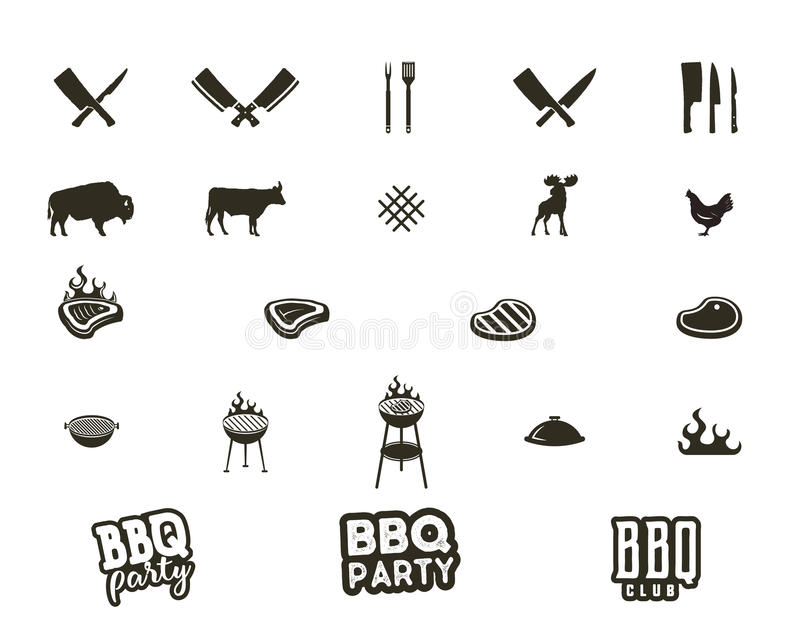 Steak house and grill silhouette textured icons. Black shapes isolated on white background. Included grill equipment royalty free illustration