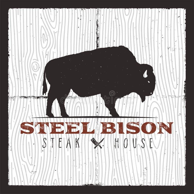 Steak House logo. Vintage typography design with bison and bbq kitchen knives. Retro vector emblem, illustration logo or royalty free illustration