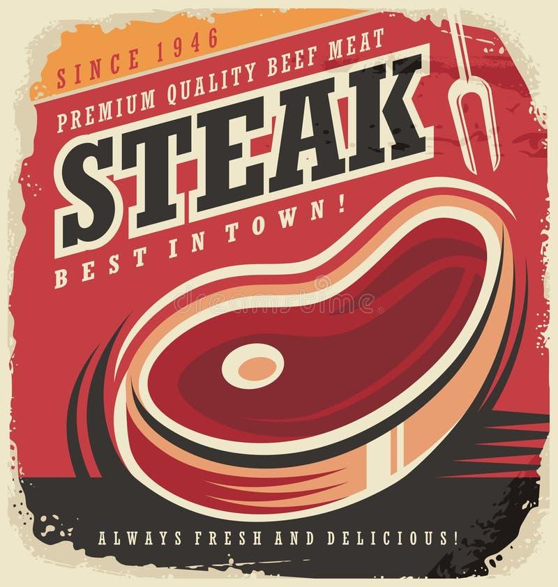 Steak house retro poster design concept vector illustration
