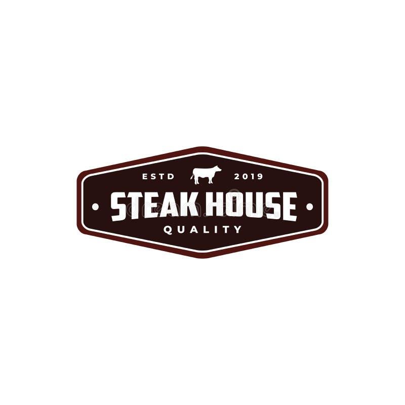 Steak house Vintage Retro Cafe Bar logo design. Steak house Vintage emblem Retro Cafe Bar logo design vector royalty free illustration