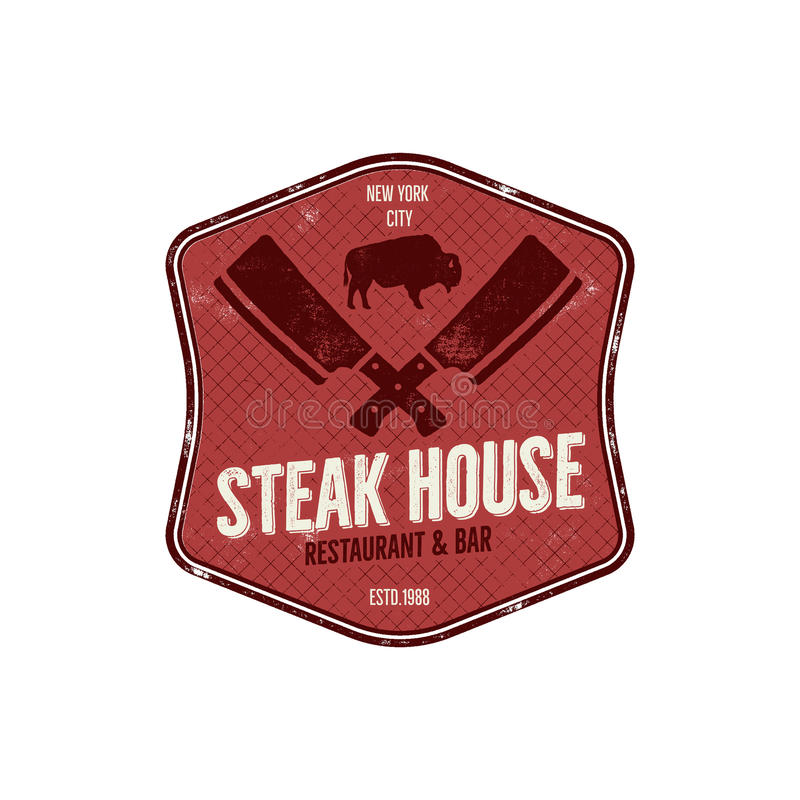 Steak House vintage Label. Typography letterpress design. Vector steak house retro logo. Included bbq grill symbols for vector illustration