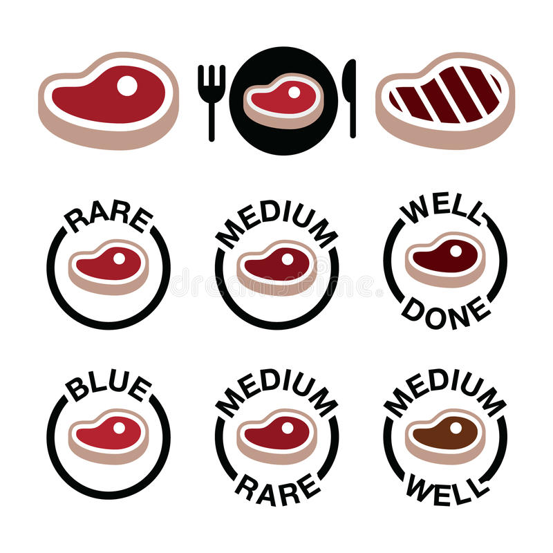 Steak - medium, rare, well done, grilled icons set royalty free illustration