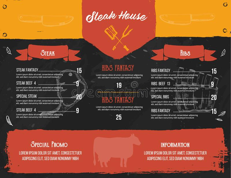 Steak menu design. BBQ grill poster with sketch icons. Barbecue cafe design on chalkboard vector illustration