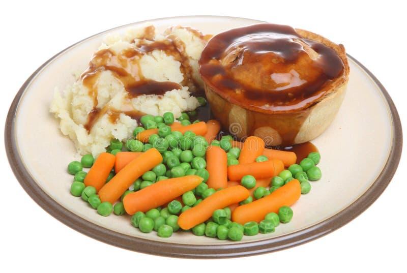 Steak Pie, Mash, Vegetables And Gravy Stock Image - Image ...