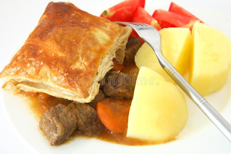 Steak pie with potato stock photo