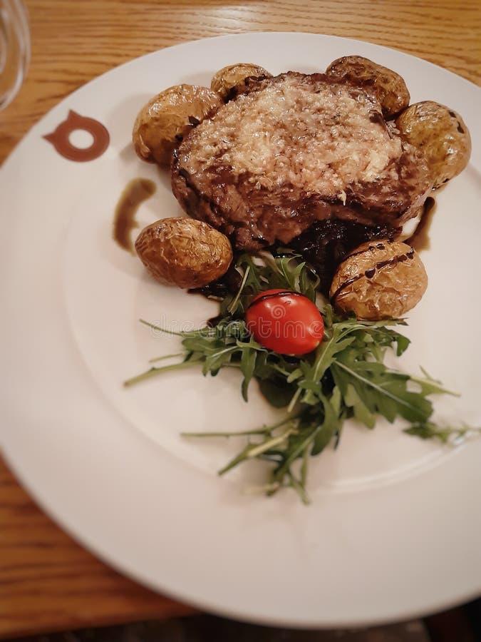 Steak with potatos stock photo