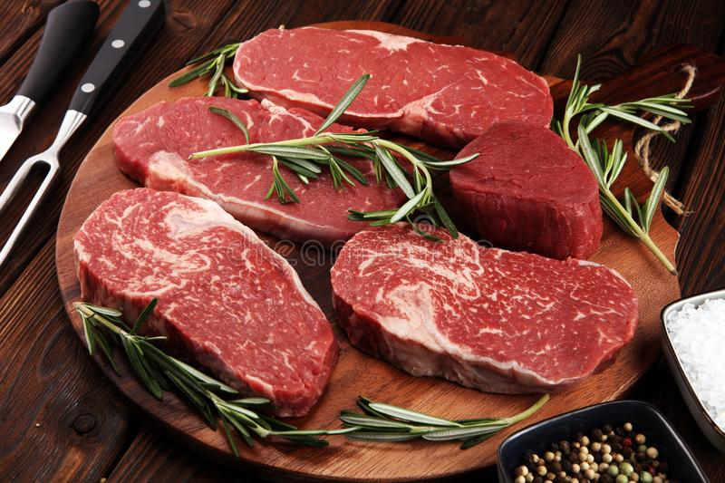 Steak raw. Barbecue Rib Eye Steak, dry Aged Wagyu Entrecote Steak. Steak raw. Barbecue Rib Eye Steak, dry Aged Wagyu Entrecote. Variety of Raw Black Angus Prime royalty free stock image